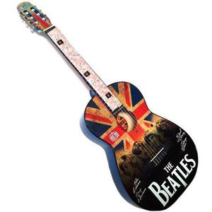 Paquete De Guitarra Acustica Con Estampado The Beatles Azul