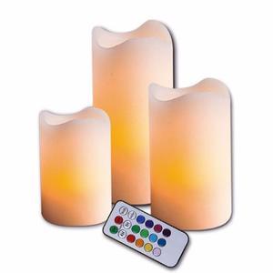 Juego De 3 Velas Led De Colores Aroma Vainilla 12 Colores