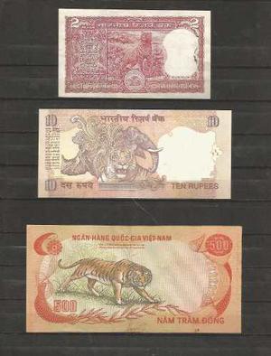 Coleccion De 3 Billetes Con Tigres