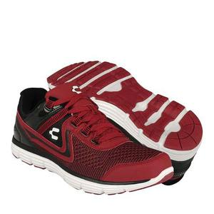 Tenis Casuales Charly Para Hombre Textil Negro Con Rojo