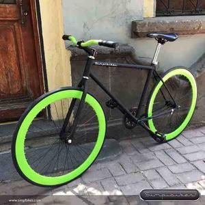 Bicicleta Fixed Simplbikes Contrapedal R700 Negro/manzana