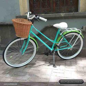 Bicicleta Vintage Simplbikes Girly R26 Menta/manzana/mimbre