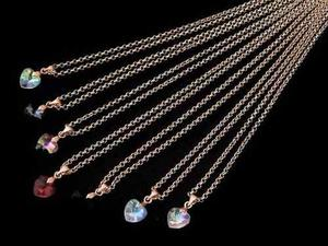 Collar Corazon Swarovsky 10mm Cadena Chapa Oro 14k 6pzs