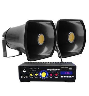 Kit Perifoneo 2 Trompetas + Ampli 800 W Ideal Para Campañas