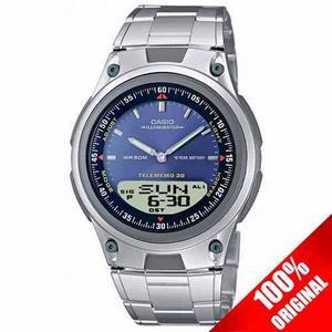 Reloj Casio Aw80 Metal Azul - 30 Memorias - Luz - Original