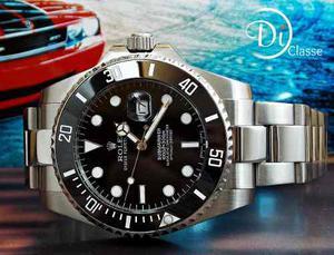 Reloj Rolex Submariner Negro Con Cristal Mineral