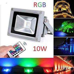 Reflector Rgb Lampara Led 10w Exterior Luminaria, Multicolor