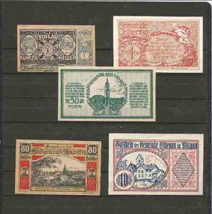 Coleccion De 5 Billetes De Alemania Notgeld