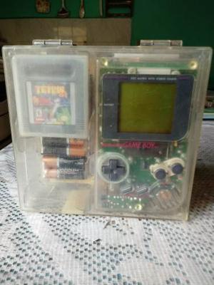 Game Boy Tabique Transparente Con Caja Y 4 Juegos