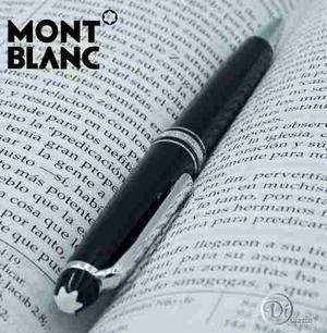 Pluma Boligrafo Montblanc Negro/ Plata Con Tapa Y De Giro