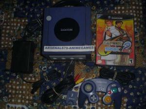 Nintendo Game Cube Morado Con Capcom Vs Snk 2 1 Control Gc