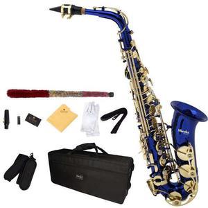 Saxofon Alto Mendini Lacado En Azul Mi Bemol