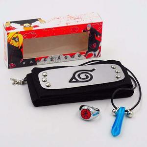 Set 3 Piezas Naruto Bandai Banda Collar Y Anillo