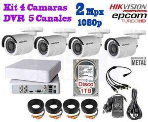 Kit 4 Camaras Hikvision p 2 Mpx Cctv 1 Tb Dvr 4 Epcom