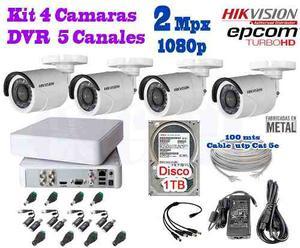 Kit 4 Camaras Hikvision p 2 Mpx Cctv 1 Tb Dvr Epcom