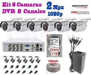 Kit 6 Camaras Hikvision p 2 Mpx Cctv 1 Tb Dvr Epcom
