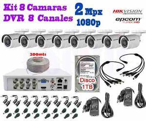 Kit 8 Camaras Hikvision p 2 Mpx Cctv 1 Tb Dvr Epcom