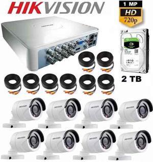 Kit Circuito Cerrado 8 Cámaras Hikvision Hd 720p Cctv 2 Tb
