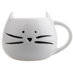 Taza De Ceramica Forma Cara Gato Gatito Bigotes Blanco H