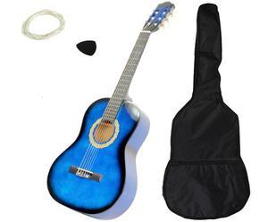 Paquete De Guitarra Acustica Azul Con Maletin Y Accesorios