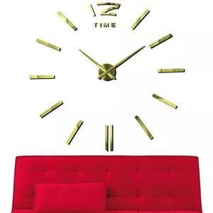 Reloj Minimalista De Pared 3d Gigante Diy Dorado H