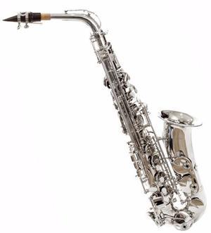 Saxofon Alto Silvertone En Eb Niquelado Modelo Slsx010