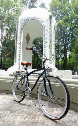 Bicicleta Vintage O Retro Cruiser R26 Azul Marino / Cromo