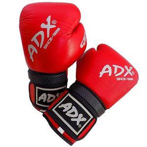 Guantes De Box Entrenamiento Adx De Piel Color Rojo - 16 Oz