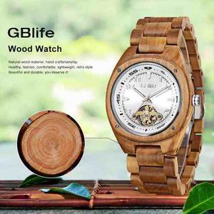 Reloj Pulsera Gblife Gm P/hombre, De Madera 3atm