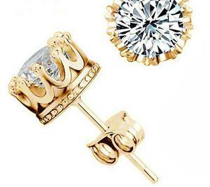 Aretes Oro Lam. Con Zirconia Tipo Diamante Envio Gratis.