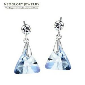 Aretes Swarovski Azul Y Zirconia Calidad Diamante.