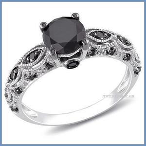G C+ Anillo De Compromiso Diamante Negro En Oro 18k -