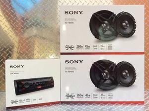 Paquete Autoestéreo Sony Usb Auxiliar Fm Con 4 Bocinas 6.5