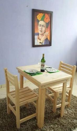 Comedor Para 2 Personas En Madera Restaurante- Envio Gratis