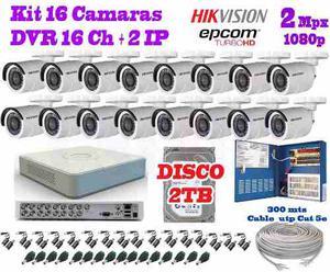 Kit 16 Camaras Hikvision p 2 Mpx Cctv 2tb Dvr Epcom Cabl