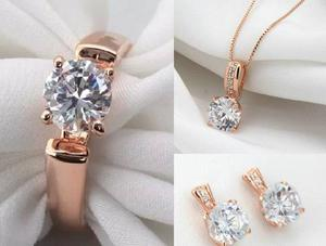 Anillo 18k Oro Rosa Compromiso Cristal Swarovski Con Collar