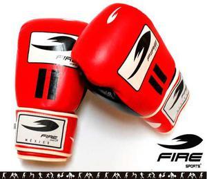 Guante Piel Boxeo Kick Fire Sports  Y 18oz Rojo
