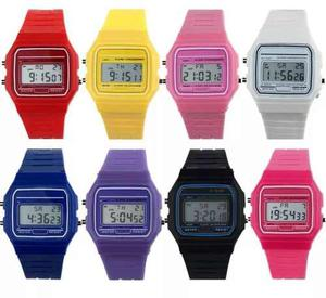 5 Relojes Reloj Casio Retro F91 Varios Colores Envio Gratis