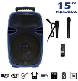 Bocina Amplificada 15 Pulg. Recargable Bluetooth Leds 2 Mic.