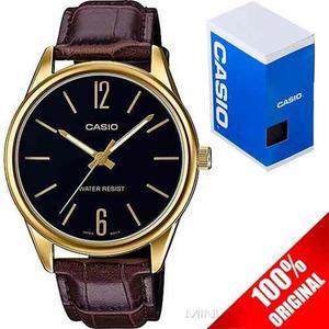 Reloj Casio Mtpv005 Piel Cara Negra - Cristal Mineral