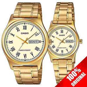 Reloj Casio Mtpv006 + Ltp V006 Acero Fechador Pareja Ideal
