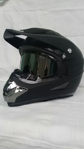 Casco Tipo Cross Bmx Downhill Negro Mate Con Goggles Tallas