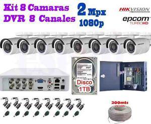 Kit 8 Camaras Hikvision p 2 Mpx Cctv 1 Tb Dvr 8 Epcom