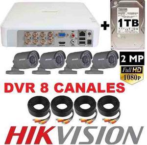 Kit Circuito Cerrado 4 Camaras Hikvision p Dvr 8 Can 1tb