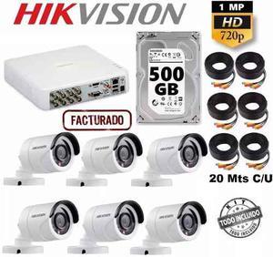 Paquete Kit 6 Cámaras Hd 720p Cctv Disco 500 Gb Hikvision
