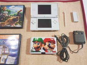 Nintendo Ds Lite Blanco Con Estuche Cargador Y 5 Juegos Orig