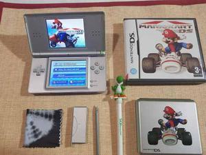 Nintendo Ds Lite Gris Con Mario Kart Funda Lápiz Y 2 Juegos