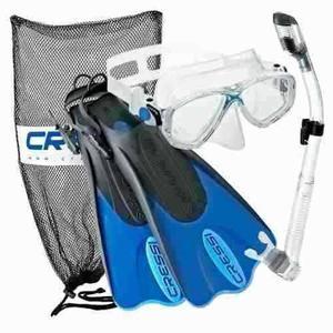Kit De Snorkel Cressi. Aletas Visor Snorkel. Varios Colores
