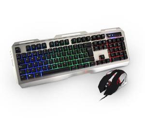 Kit Teclado Mouse Gamer Eagle Warrior Diadema Led Rgb Usb