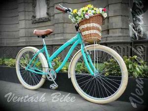 Bicicleta Retro Vintage Estilo Smart R26 Verde Agua